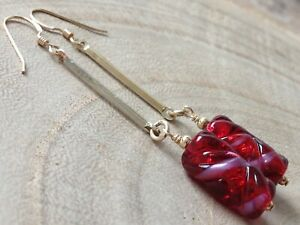 Vintage Red FOIL Twisted Cylinder Glass 14ct Rolled Gold Earrings