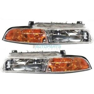 New Set Of Two Halogen Head Lamp Assembly Fits 1995-2000 Chrysler Cirrus