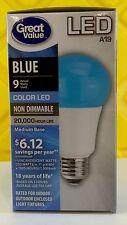 Blue LED Color TCP Great Value A19 Non Dimm Medium Base 9w light bulb