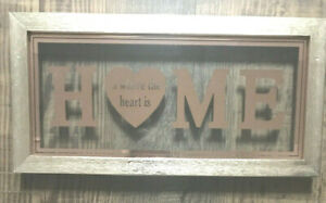 """Hanging Love Inspirational Art Sign Decor-""""Home is Where the Heart Is""""-14"""" x 7"""""""