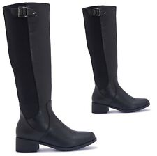 LADIES WINTER RIDING MID CALF WOMENS KNEE HIGH FLAT BUCKLE ZIP BOOTS UK SIZE 3-8