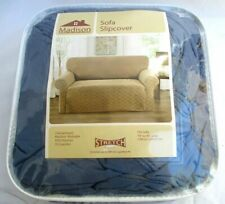 "MADISON..STRETCH..SOFA..SLIPCOVER..NEW..BLUE GRAY..74"" TO 96"""