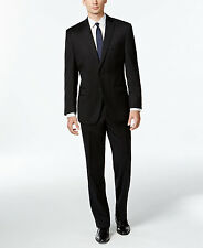 $845 CALVIN KLEIN men BLACK SLIM-FIT 2 PIECE SUIT WOOL JACKET PANTS BLAZER 48 R
