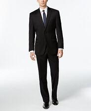 $845 CALVIN KLEIN men BLACK SLIM-FIT 2 PIECE SUIT WOOL JACKET PANTS BLAZER 48 R