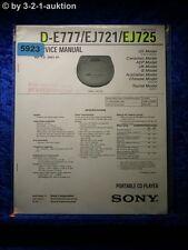 Sony Service Manual D E777 /EJ721 /EJ725 CD Player (#5923)