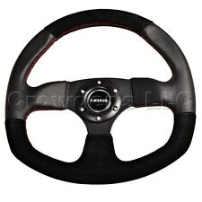 NRG Oval Steering Wheel - Black Suede with Red Stitching - 320 mm - ST-009S-RS