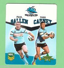 TIP TOP NRL 2013  FOOTY SUPERSTARS CARD #43  GALLEN / CARNEY, CRONULLA SHARKS