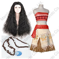 Girl Women Polynesia princess Moana Cosplay Costume Dress halloween 6pcs outfit
