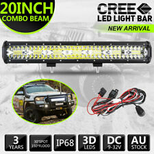 CREE LED Light Bar 20 inch Tri-row Spot Flood Combo Driving Offroad Truck Wiring