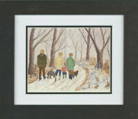 Framed 20th Century Watercolour - A Winter's Walk with the Dogs
