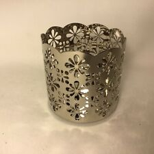 NEW Yankee Candle Holder Metal Silver Floral Flower spheres