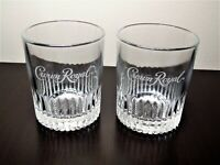 Crown Royal Limited Edition Ribbed Whiskey Rocks Glasses Raised logo on Bottom