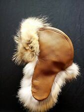 Mens Leather and Coyote Fur Trapper Hat