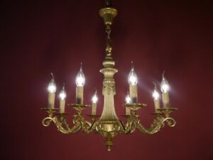 brass 8 light chandelier old ceiling lamp antique old