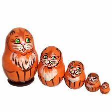 Chat roux yeux verts Poupee gigogne Matriochka Mini, cadeau Collection poupee