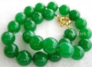 """BEAUTIFUL 10MM NATURAL GREEN JADE ROUND GEMSTONE BEADS NECKLACE 18-22"""" AAA+"""