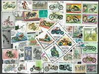 Two Wheels Transport-Motorbikes-Bicycles-100 all differents stamps collection