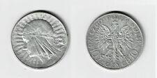 POLAND 10 ZL SILVER 1932 POLISH EAGLE QUEEN JADWIGA