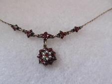 Vintage Victorian Bohemian Garnet & Seed Pearl Drop Dangle Necklace