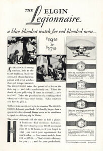 1928 Elgin Legionnaire: Blue Blooded Watch Red Blooded Men Vintage Print Ad