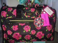 AUTHENTIC Betsey Johnson Floral Roses Nylon Weekender Travel Bag Duffle Luggage