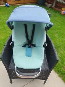 Quinny buzz capri blue Seat Unit Bronze Straps, newborn seat, hood