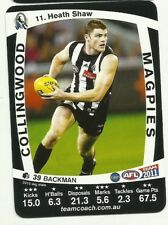 2011 AFL TEAMCOACH COLLINGWOOD MAGPIES HEATH SHAW 11 COMMON CARD free post