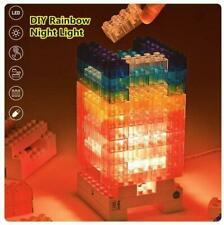 Elegdy Creative Diy Led Desk Lamp Night Light Multicolor Rainbow Building Blocks