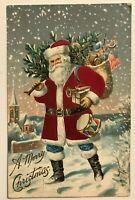 Silk SANTA CLAUS in Snow~with~Tree~Toys~Flag~Drum~1910 Christmas Postcard-s873