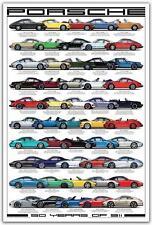 Poster  Porsche 911 50ème anniversaire 61 cm x 91,5 cm