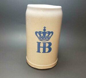 VINTAGE HB HOFBRAUHAUS MUNCHEN CROWN GRAY BEER STEIN 1 LITER