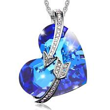 I Love You to the Moon and Back Crystal Heart Necklace for Girlfriend Women