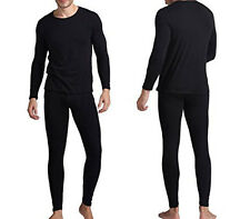 Men's Light Weight Waffle Knit Thermal Top & Bottom Set Underwear Black XL