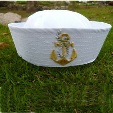 White Sea Sailor Captain Hat Boat Embroidery Anchor Emblem Sailors Navy Cap
