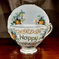 Queen Anne Tea Cup & Saucer HAPPY ANNIVERSARY Floral Fine Bone ChinaEngland