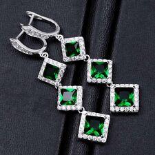 Women Silver Plated Princess Cut Emerald Dangle Drop Wedding Engagement Earrings