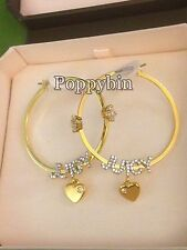 STOCKING STUFFER! JUICY COUTURE CRYSTAL LOGO SCRIPT HOOP EARRINGS w/Tagged Box
