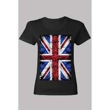 Ladies Rose Design Union Jack T shirt Black
