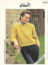 Patrón de ganchillo para mujer suéter / Top Con Knitted Puños Y Cuello