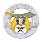 Shriners Round Masonic Auto Emblem - [White & Gold][3'' Diameter]