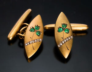 Antique Emerald & Diamond 2.88 Ct 14k Yellow Gold Over Men's Jewelry Cuff Links