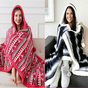 RED / CHARCOAL HOODED SNUGGLE BLANKET SOFT FLEECE SHERPA REVERSABLE THROW GIFT
