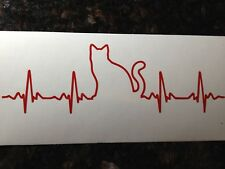 Heartbeat Cat Vinyl Decal Sticker For Window Car Truck Free Shipping jeep Dog
