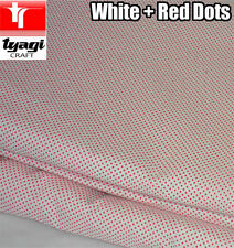 1YARD WHITE + RED POLKA DOT FABRIC (2MM DOTS) - FASHION DRESS MAKING DECORATION