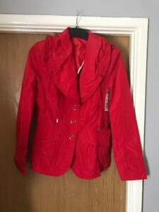NEW WOMAN'S RED WATERPROOF FRILL DESIGN JACKET COAT SIZE 8