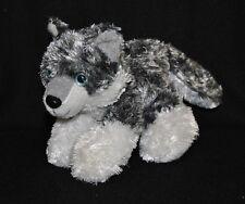 Peluche doudou chien husky TOODO blanc gris yeux bleu noir 16 cm TTBE