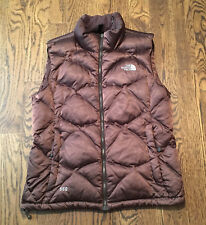 The North Face Down Vest Womens Large 550 Fill Aconcagua Puffer Brown
