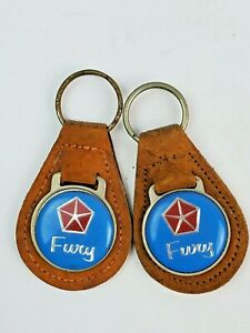 Lot of 2 Vintage Plymouth Fury leather keychain keyring metal back Brown