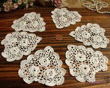 """Lot 6PC -Vtg Chic Hand Crochet Heart Shape Cotton Doilies Lace White~ROSETTE 4"""""""