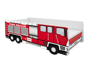 KIDS BED FIRE ENGINE TRUCK CAR + MATTRESS  TODDLER BOYS FREE DELIVERY